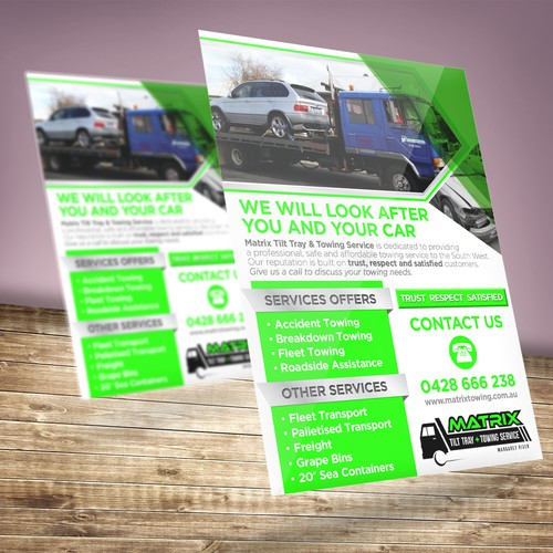 Outstanding STAND OUT! Print media Advertisment for local Towing business required
