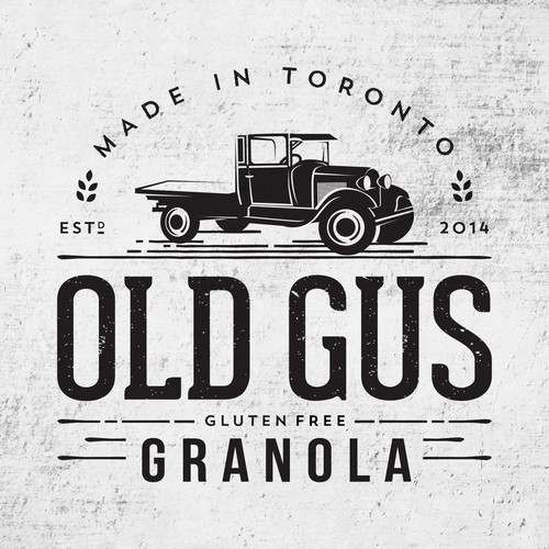 Logo with illustration of vintage Ford truck