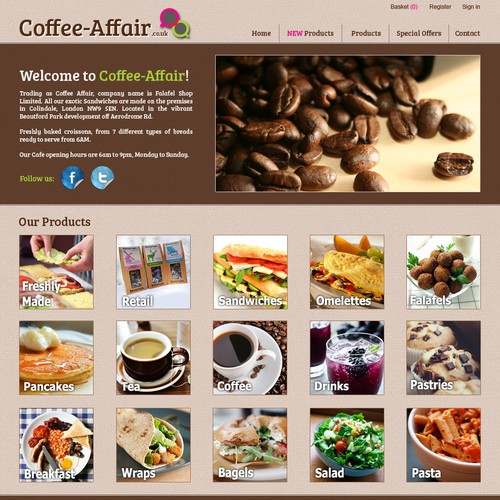 website design for Coffee Affair
