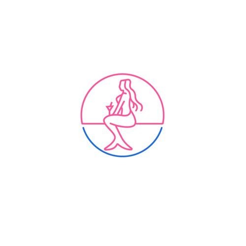 Line-art Mermaid Logo