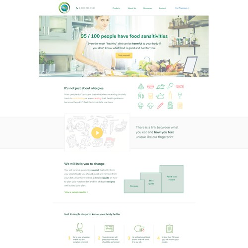 Website concept for food sensitivity test provider