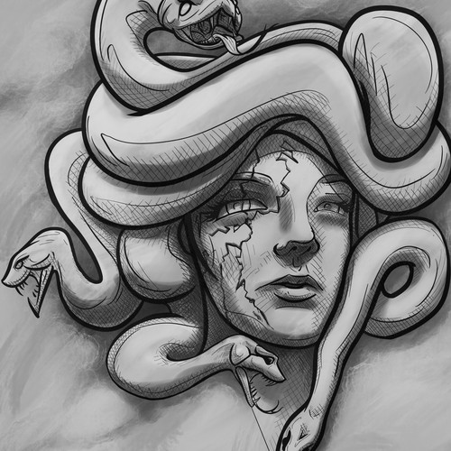 Sketch for Medusa tatto