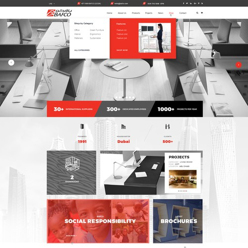 WordPress design for a Corporate Interior Retailer