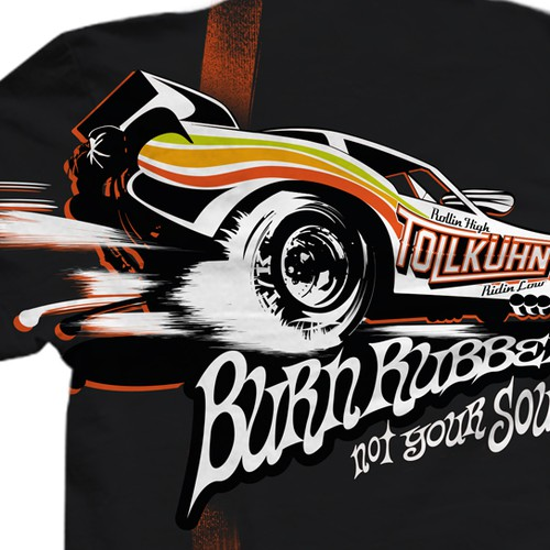 Tshirt with 70s funny car.