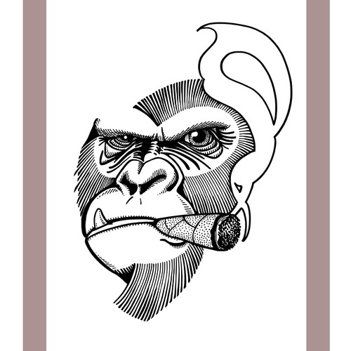Gorilla with Cigar Tattoo