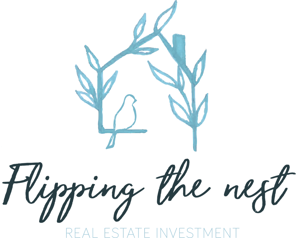 Logo for a real estate investment company called Flipping the Nest LLC