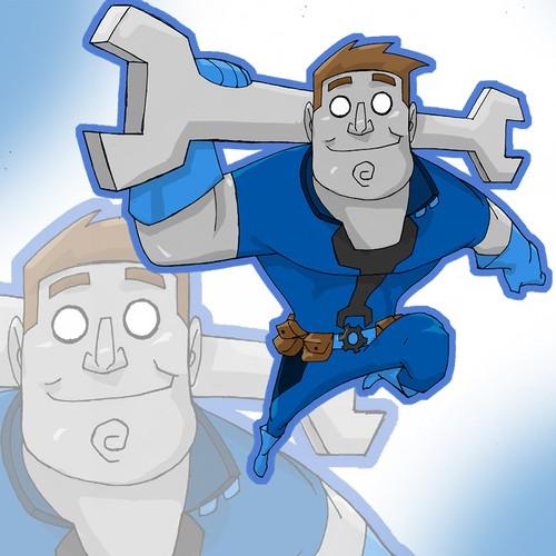 metallic skinned man mascot