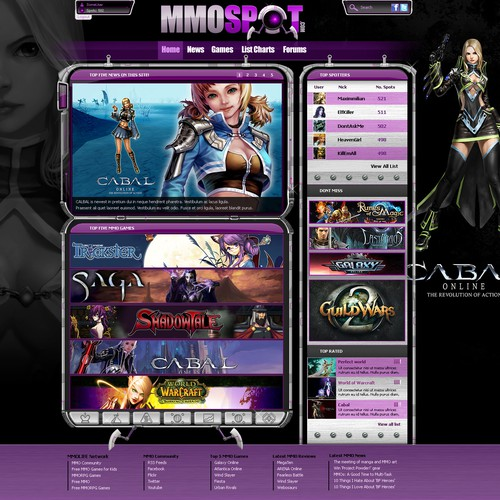 Homepage design for Awesome new MMO Games Spot