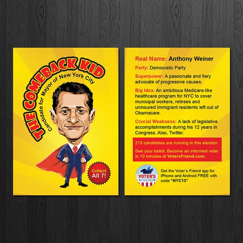 Superhero Trading Card Template for Voter's Friend