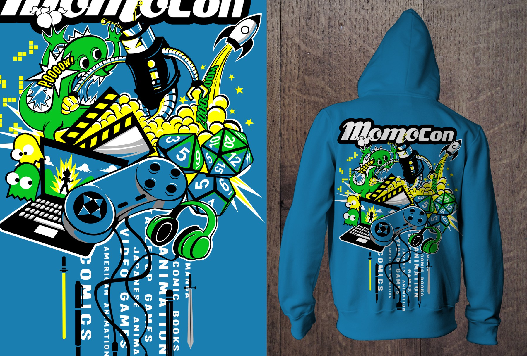Epic Hoodie Design for MomoCon the Animation, Gaming, and Comic Convention