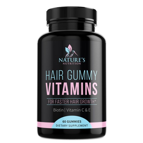 Label design for supplement Nature's Nutrition Hair Gummy Vitamins
