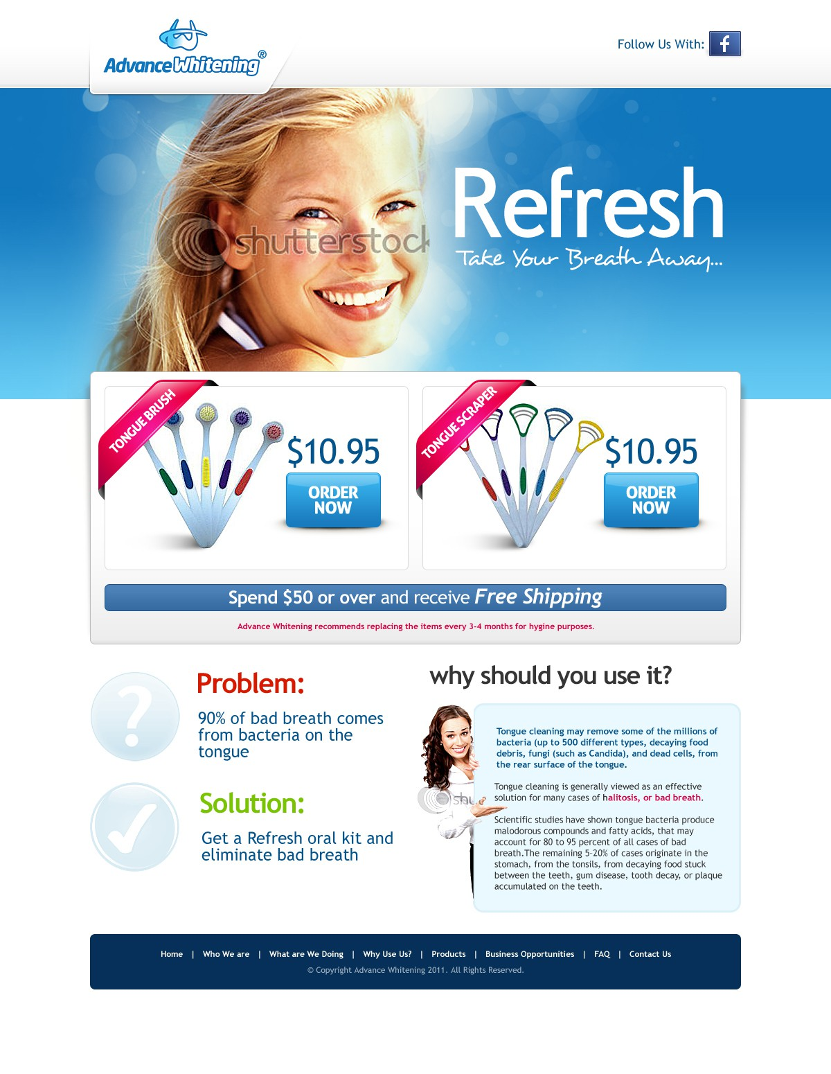 New website design wanted for Advance Whitening
