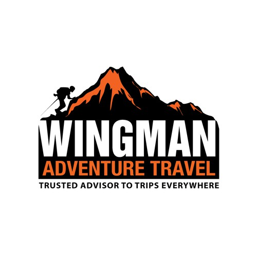 Create an iconic logo for Wingman Adventure Travel