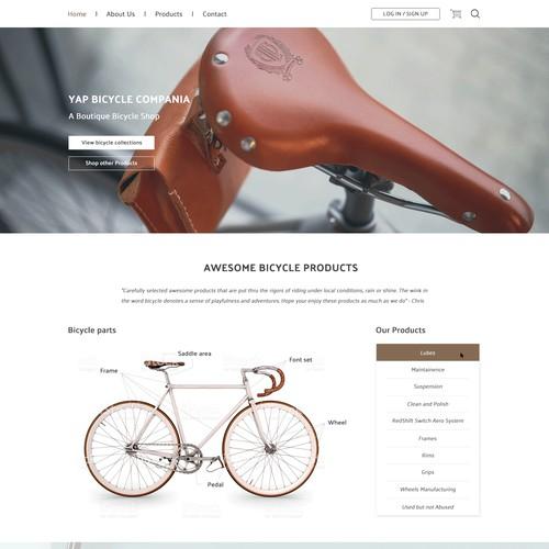 Classic Bicycle shop website design