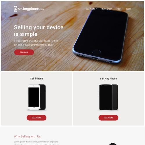 Landing Page Design Concept for SellMyPhone.com