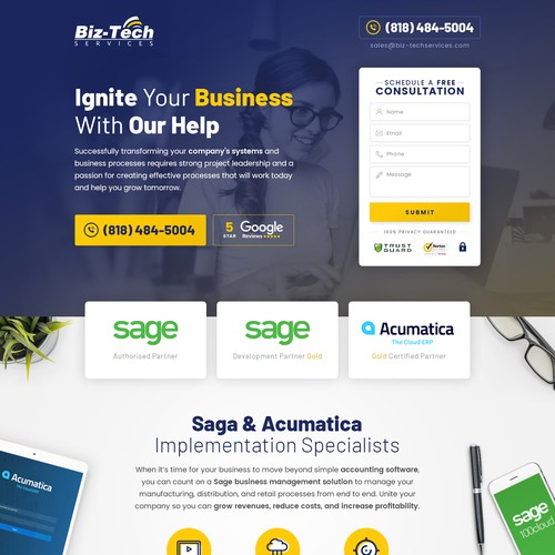 Simple Landing Page for Business Services