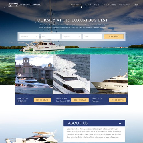 landing page for a luxury tour
