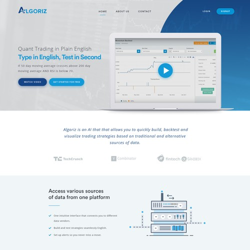 Landing page for a Trading Technology company