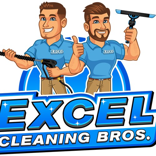 Logo and Mascot for Excel Cleaning Bros.