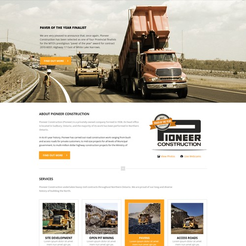 Homepage for construction company