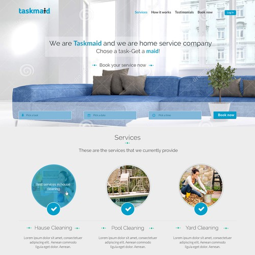 Design a fun & hip landing page for taskmaids (Guarantee contest!!! & long-term work!!!)