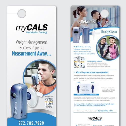 Create an eye-catching door hanger promoting metabolic testing (and death to fad dieting)