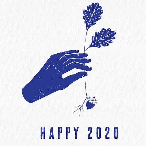 Minimal designed Happy New Year postcard with nature vibe
