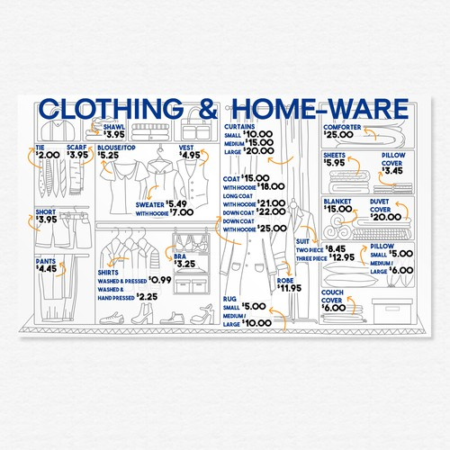 Laundromat menu display