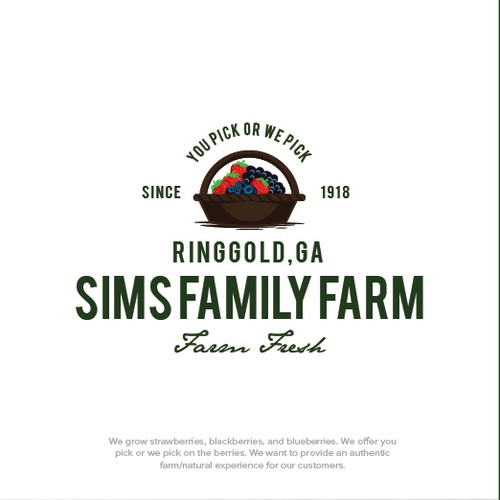 a logo for 100 years old sims family farm