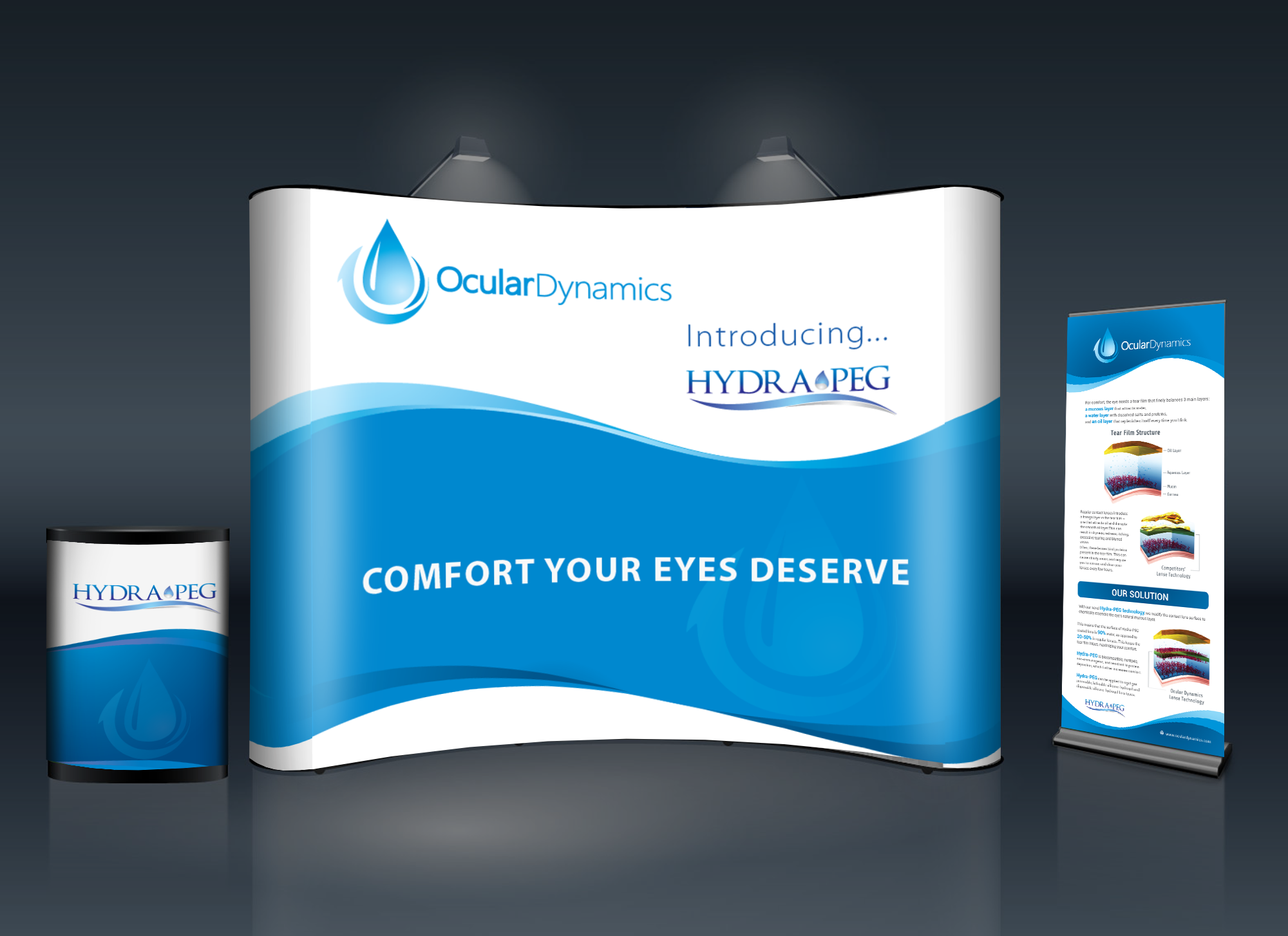 Create a conference booth for a contact lens coating company