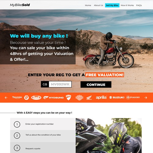 Web design concept for a motorcycles service.