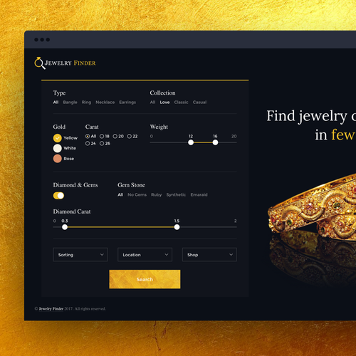 Elegant Website Design for Jewelry Finder