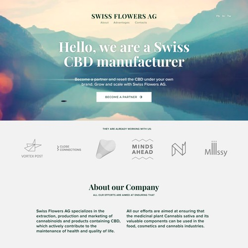 Landing page for Swiss Flowers AG