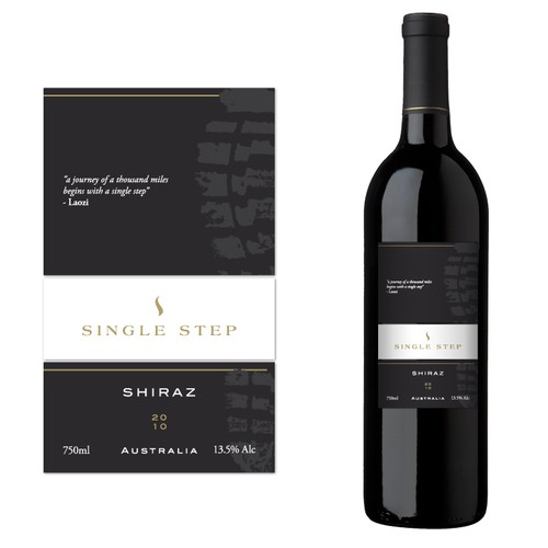 """Single Step"" wine label - get your boots on & join us! Every great journey starts with a single step."