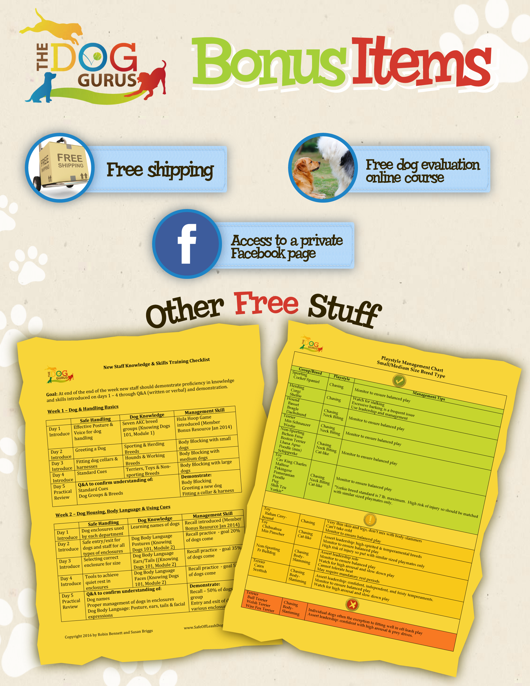 Special Bonus Items Graphic for Knowing Dogs webinar