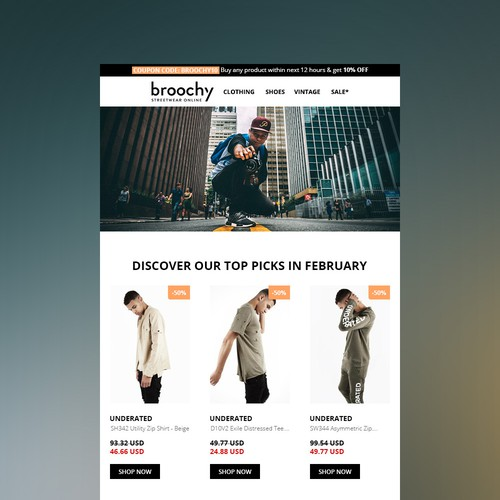An email newsletter for Broochy, an online streetwear clothing store