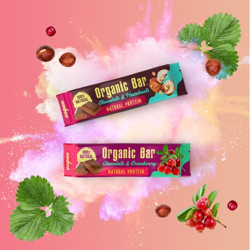 Organic protein bar packaging design concept