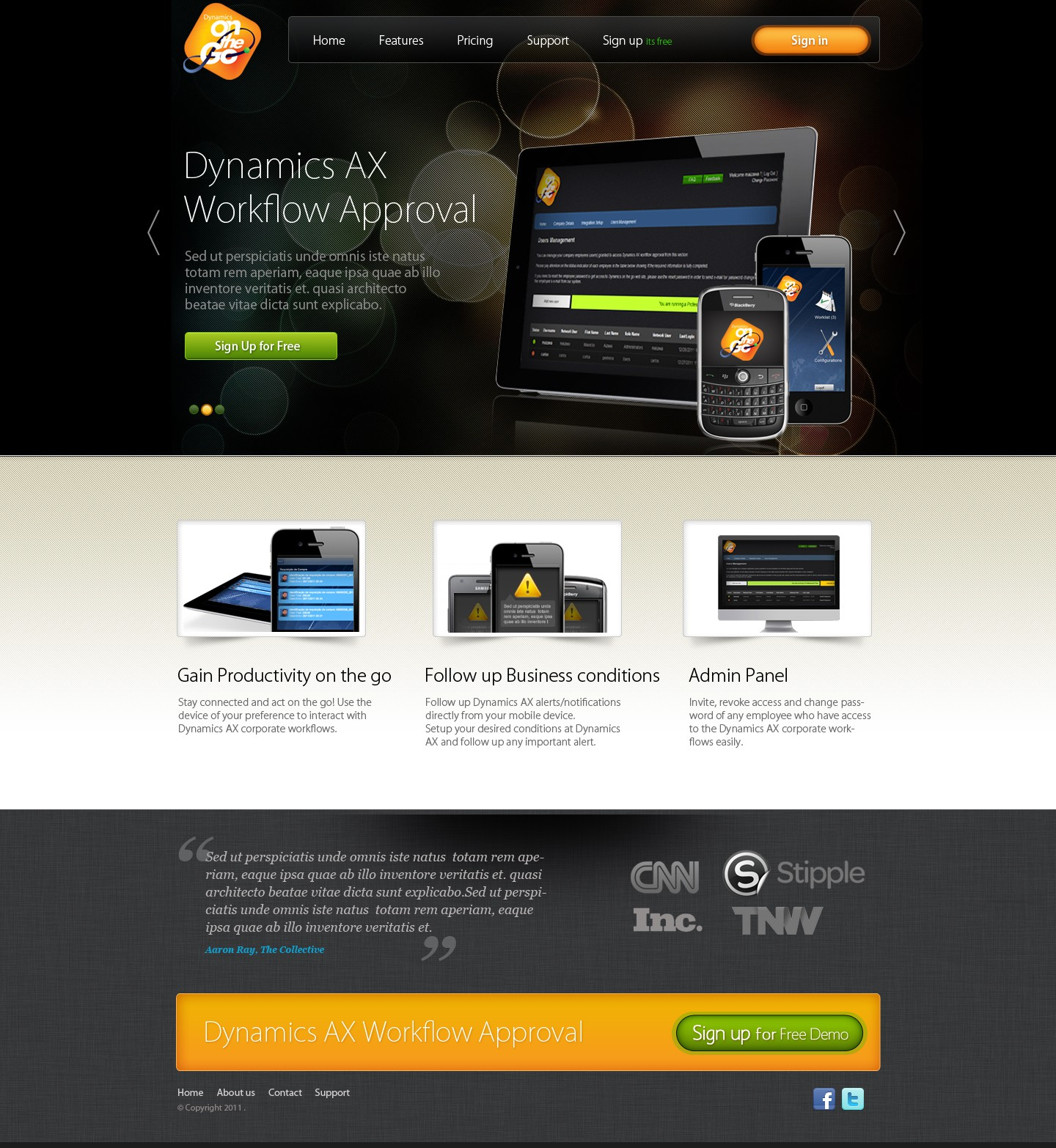 Dynamics On The Go needs a new website design for new Services Promotion