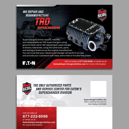 Bold dynamic postcard for TRD Superchargers