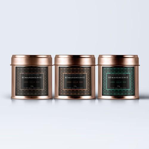 Label design for REMANESCENCE - Bougies parfumées d'intérieur