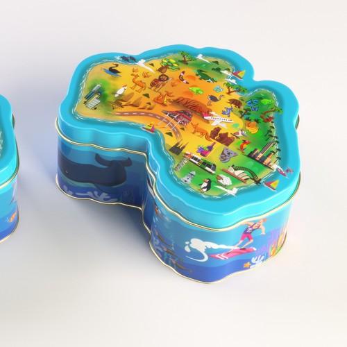 Design a fun image for an Australian shaped souvenir tin