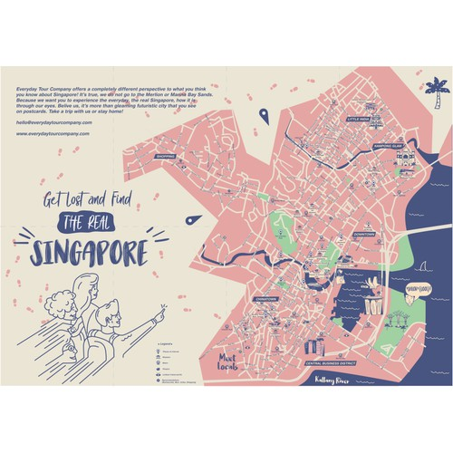 Singapore Touristic Map Design And Illustration