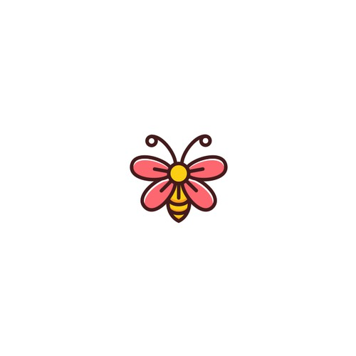 Flower and Bee animal logo design concept