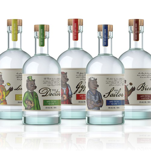 Labels and illustrations for Tiny Bear Distillery's spirits