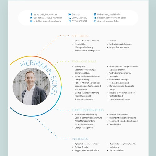 Creative resume for senior management position in the digital/media industry