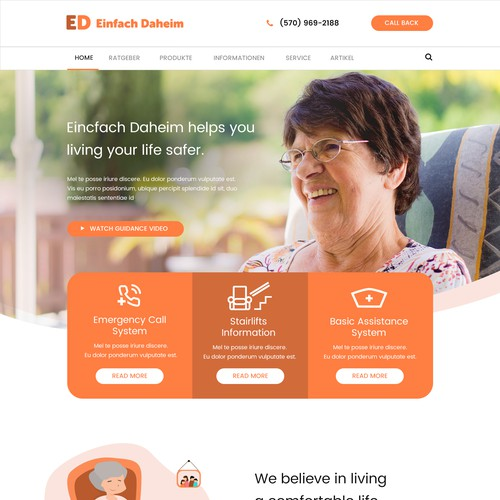 Web design for a senior home care