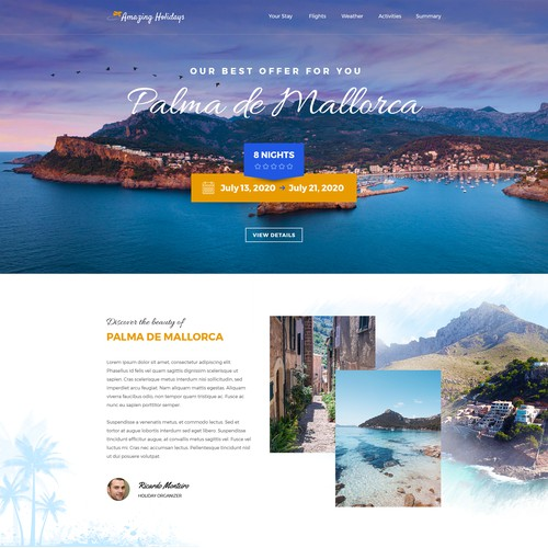 Landing page concept for a travel agency