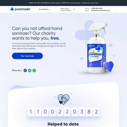 Eye-catching e-commerce website for hand sanitizer