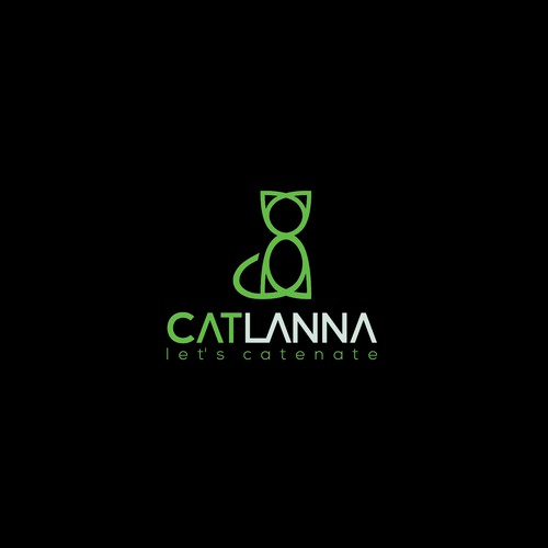 Create a captivating powerful, geometric cat logo for CATLANNA behavior consulting services