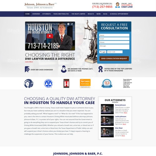 Jhonson, Jhonson & Baer texas DWi Attorneys Website Designing Project
